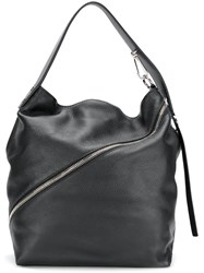 Proenza Schouler Medium Pebbled Leather Zip Hobo Black