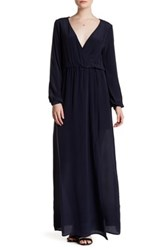 Anine Bing Surplice V Neck Long Sleeve Maxi Dress Blue