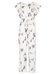 Cutie Bird Print Jumpsuit White