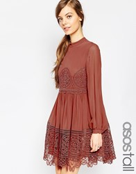Asos Tall Lace Babydoll Swing Dress Red