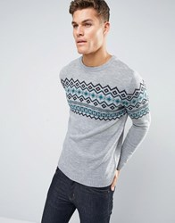 Pull And Bear Pullandbear Fairisle Jumper In Grey Grey