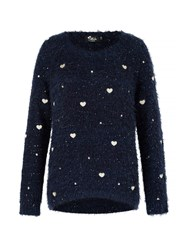 Mela Loves London Fluffy Heart Print Jumper Navy