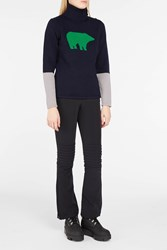 Perfect Moment Women S Bear Intarsia Roll Neck Jumper Boutique1 Navynordic