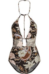 Zimmermann Henna Printed Halterneck Swimsuit Brown