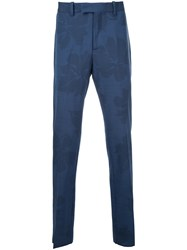 Oamc Leaf Print Tailored Trousers Men Virgin Wool 50 Blue