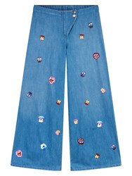Christopher Kane Embroidered Baggy Jeans Blue