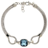 Finesse Double Mesh Glass Crystal Bracelet Silver Blue
