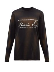 Martine Rose Logo Print Washed Cotton T Shirt Black