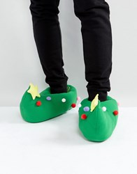 Dunlop Christmas Tree Slippers Green