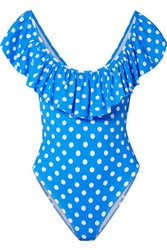 Caroline Constas Ari Ruffled Polka Dot Swimsuit Blue