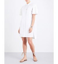 Prism Leo Daisy Damask Cotton Poplin Shirt Dress White