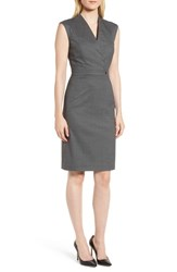 Boss Difara Stretch Wool Sheath Dress Cozy Grey Fantasy