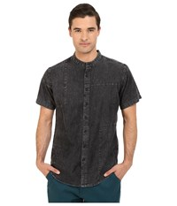 Publish Camilo Mandarin Collar Denim Chambray Button Up Black Men's Short Sleeve Button Up