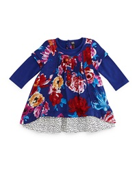 Catimini Twill Floral Shift Dress Royal Blue Size 6M 2