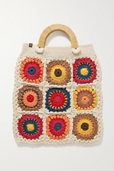 Nannacay Morgana Crocheted Cotton And Wicker Tote Off White