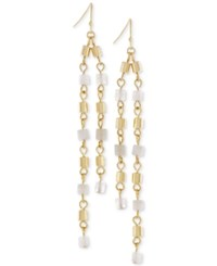 Bcbgeneration Gold Tone Beaded Linear Drop Earrings