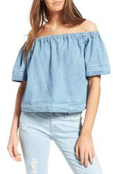Ag Jeans Women's Sylvia Cotton Chambray Off The Shoulder Top Sunwashed
