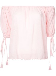G.V.G.V. Yoryu Chiffon Off Shoulder Blouse Women Polyester Polyurethane Tencel 34 Pink Purple