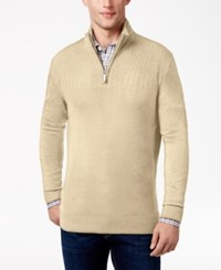 Geoffrey Beene Men's Quarter Zip Drop Needle Sweater Light Khaki