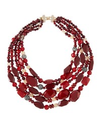Lydell Nyc Multi Strand Crystal Beaded Necklace Red Multi