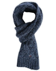Tommy Hilfiger Blue Wyatt Cable Knit Wool Blend Scarf