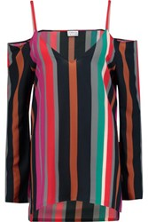 Tanya Taylor Striped Off The Shoulder Silk Georgette Top Multi