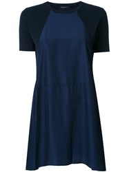 Roberto Collina Two Tone A Line Dress Blue