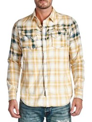 Cult Of Individuality Clint Plaid Cotton Casual Button Down Shirt Yellow