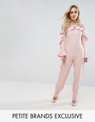 John Zack Petite Ruffle Front Detail Jumpsuit With Lace Sleeve Pink