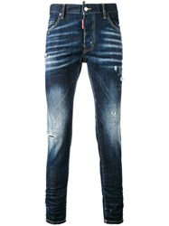 Dsquared2 Faded Slim Fit Jeans Men Cotton Calf Leather Polyester Spandex Elastane 48 Blue