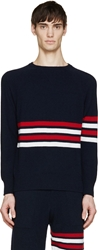 Thom Browne Navy And Red Cashmere Striped Sweater