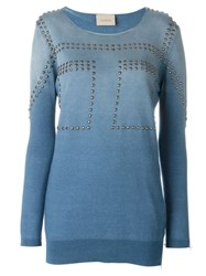 Laneus Studded Sweatshirt Blue