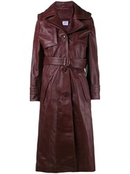 Vetements Belted Trench Coat Pink And Purple