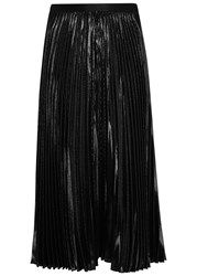 Diane Von Furstenberg Heavyn Black Pleated Midi Skirt