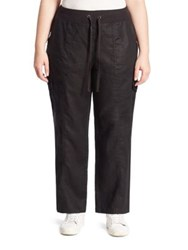 Eileen Fisher Organic Linen Cargo Pants Black