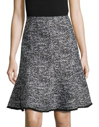 Karl Lagerfeld Tweed Trumpet Skirt Black White