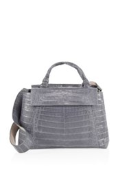 Nancy Gonzalez Medium Double Tie Knot Crocodile Flap Tote Grey