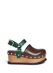 Sacai Wooden Wedge Stud Colourblock Leather Clogs Brown