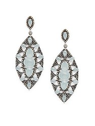 Bavna Champagne Diamond Aquamarine And Sterling Silver Earrings