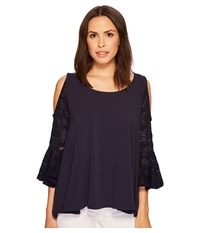 Nally And Millie Cold Shoulder Ruffle Sleeve Top Denim Clothing Blue