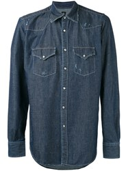 Eleventy Denim Shirt Men Cotton Xl Blue