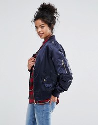 Liquor And Poker Satin Bomber Navy