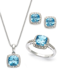 Macy's Sterling Silver Jewelry Set Blue Topaz 5 7 8 Ct. T.W. And Diamond Accent Necklace Earrings And Ring Set