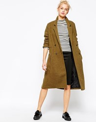 Monki Double Breasted Tailored Coat Khakigreen