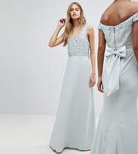 Maya Sleeveless Sequin Bodice Maxi Dress With Cutout And Bow Back Detail Ice Blue