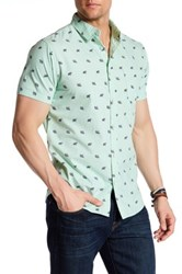 Straight Faded Elephant Modern Fit Short Sleeve Print Shirt Green