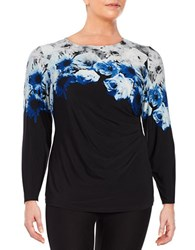Calvin Klein Plus Side Ruched Floral Long Sleeve Roundneck Blouse Black Grey Blue