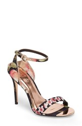 Ted Baker 'S London Mirobep Sandal Peach Blossom Black Satin