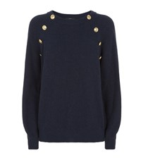 Set Embossed Button Jumper Female Navy
