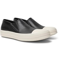 Rick Owens Boat Leather Slip On Sneakers Black